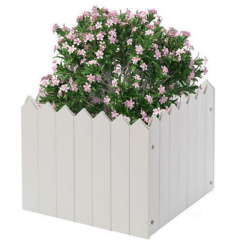 Gardenised Square Traditional Fence Design Vinyl Planter Box