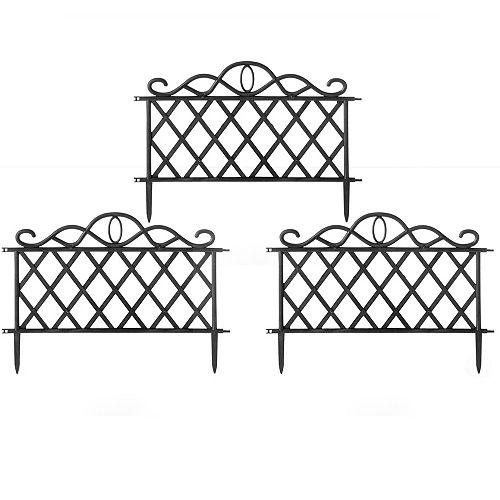 Plastic Garden Edging Border Fence, Flower Bed Barrier, Set of 3
