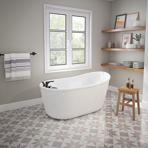 Davis 58L x 32W x 28H FreeStanding AcrylX Bathtub End Drain in White w/ 15.375in Soaking Depth