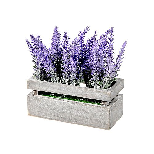 Artificial Lavender In Wood Crate - Set of 2