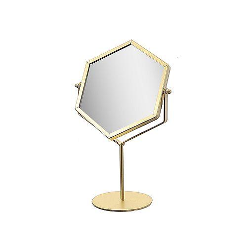 Hexagon Mirror On Pedestal (Gold)
