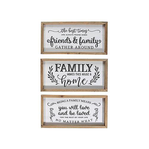 Framed Inspirational Wood Plaque (Family) (Asstd) - Set of 3