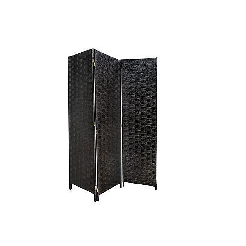 3 Panneau Tissé Bambou Écran (Noir)