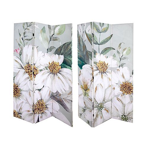 Double Sided 3 Panel Canvas Screen W Glitter (White Jasmine)