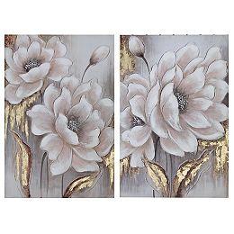 Wall Art Toile Peinte À La Main (Bloom Dusty) (24 X 36) (Asstd) - Set of 2
