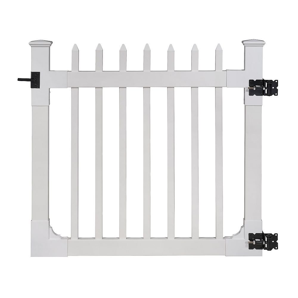 Zippity Outdoor Products Nantucket 4 ft. x 4 ft. Vinyl Picket Fence Gate with Stainless Steel Hardware