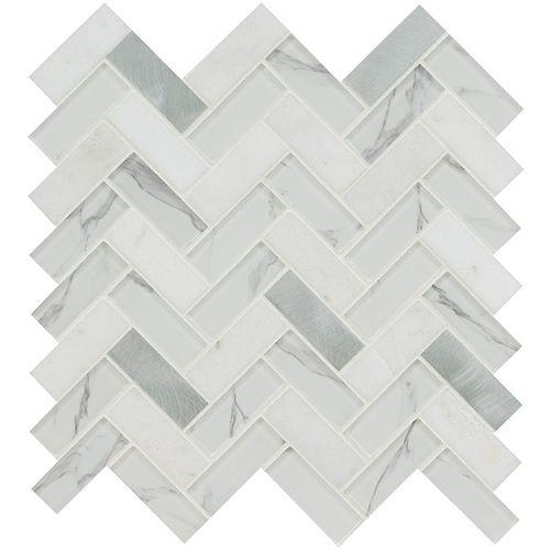 Carreau de mosaïque multi-surface monté sur filet Bytle Bianco à chevrons 12 po x 12 po (1 pi2)