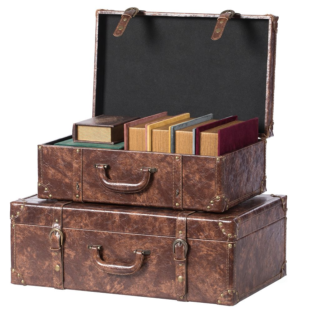 Vintiquewise Suitcase Storage Trunk with Faux Leather Set of 2