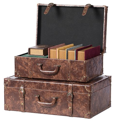 Suitcase Storage Trunk with Faux Leather Set of 2