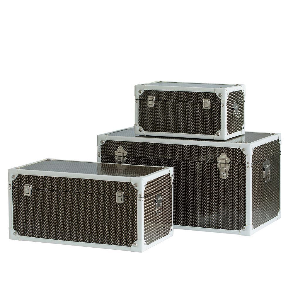 Vintiquewise Faux Leather Storage Trunk Set of 3
