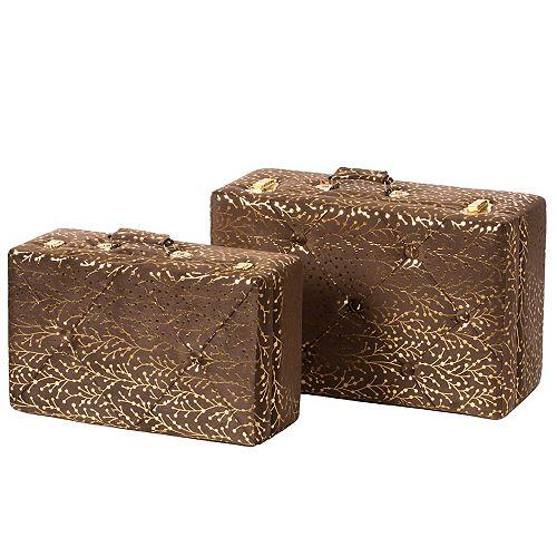 Decorative Tufted Velvet Suitcase Treasure Chest Set of 2, Brown