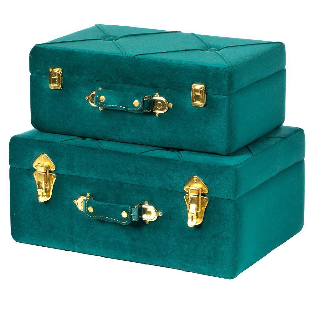 Vintiquewise Decorative Tufted Velvet Suitcase Treasure Chest Set of 2, Green