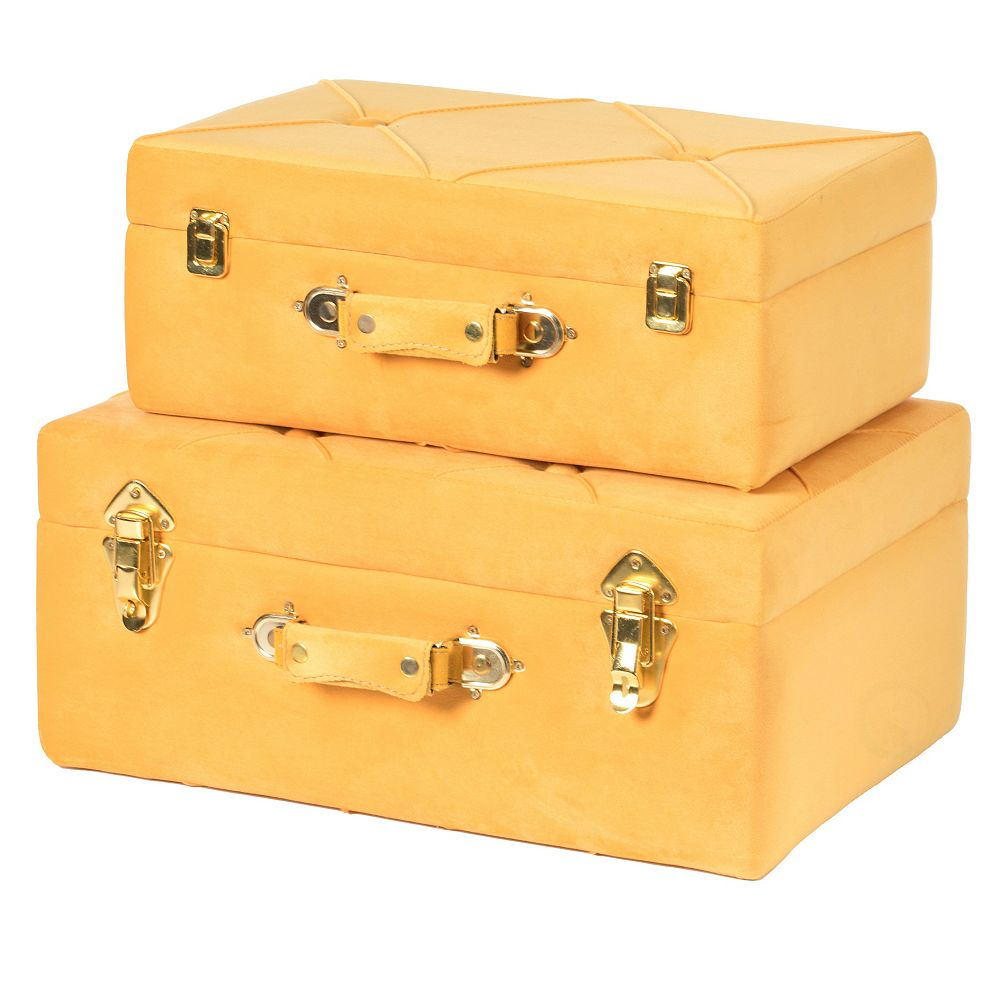 Vintiquewise Decorative Tufted Velvet Suitcase Treasure Chest Set of 2, Yellow