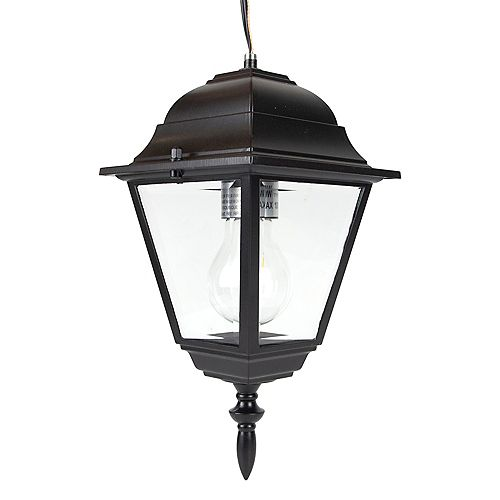 Acclaim Lighting Builder's Choice Collection 100W 1-Light Outdoor Hanging Lantern Black with clear glass panels