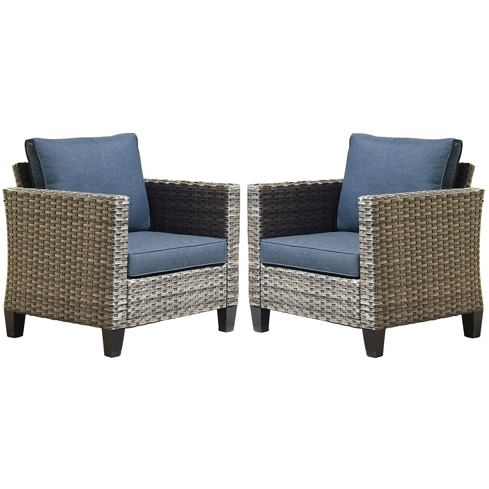 OVIOS Gray 2-Piece Wicker Outdoor Lounge Chair with Blue Cushions