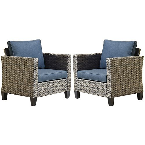 Gray 2-Piece Wicker Outdoor Lounge Chair with Blue Cushions