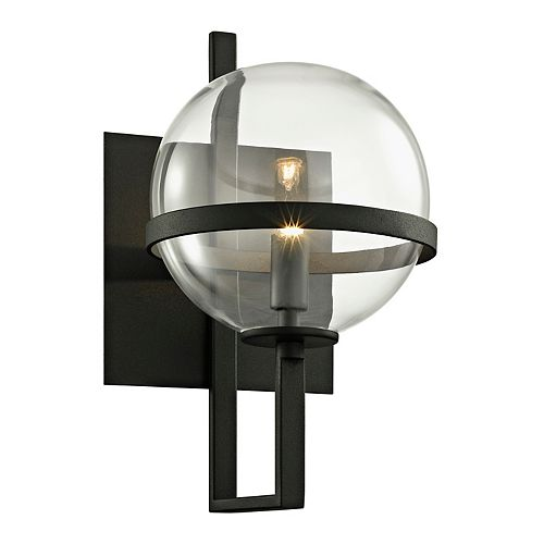 Elliot 1-Light Textured Black 11.5 in. H Wall Sconce with Clear Glass