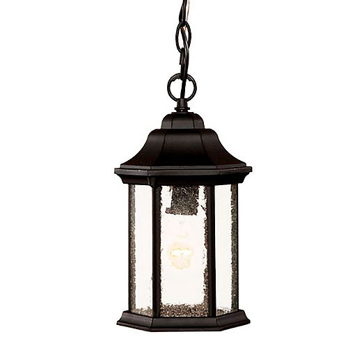 Acclaim Lighting Madison 100W 1-Light Outdoor Hanging Lantern With Clear Beveled Glass Panes Shade in Matte Black