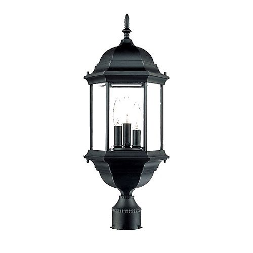 Acclaim Lighting Madison 60W 3-Light outdoor Post Mount head lantern Black finish
