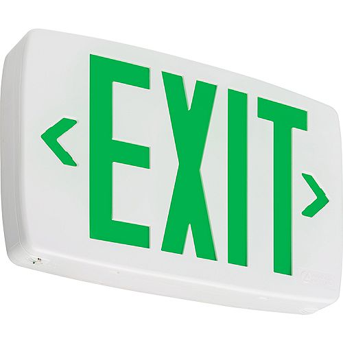 Quantum White LED Exit Sign Emergency Backup with Green Letters