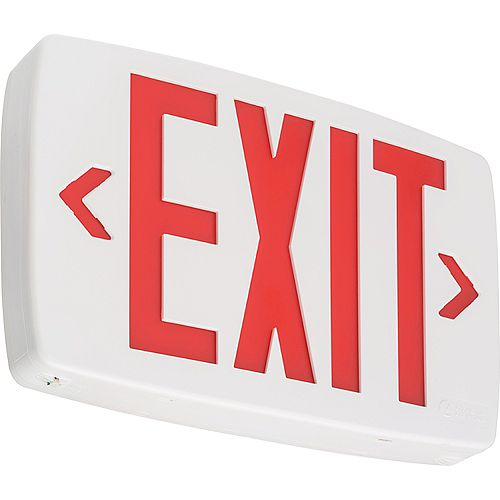 Quantum White LED Exit Sign Emergency Backup with Red Letters