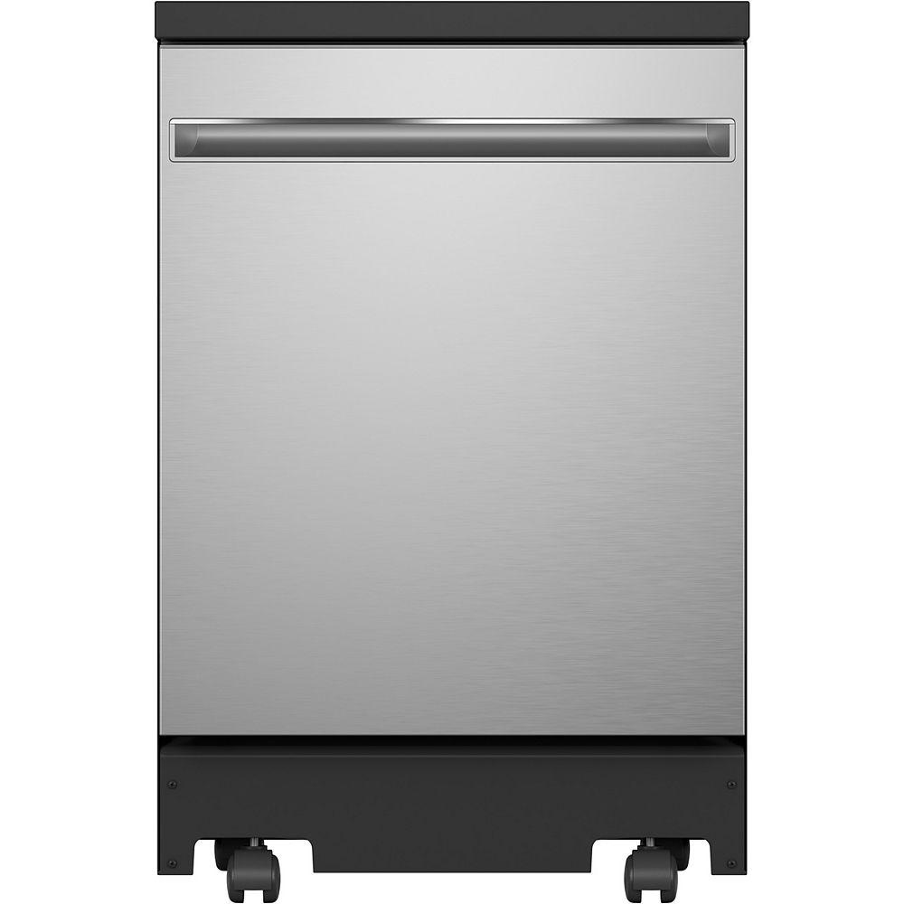GE Lave-vaisselle mobile de 24 po avec programme d'assainissement en acier inoxydable