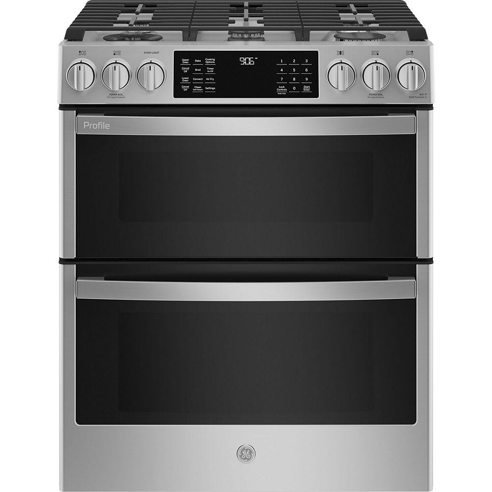 GE Profile 30-inch Smart Slide-In Gas Double Oven Range in Fingerprint Resistant Stainless Steel