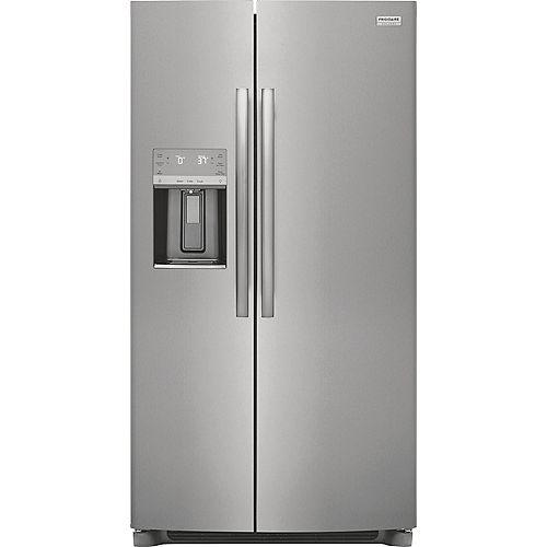 Réfrigérateur côte à côte de 36 po de largeur de 25,6 pi3 en Smudge-Proof en acier inoxydable