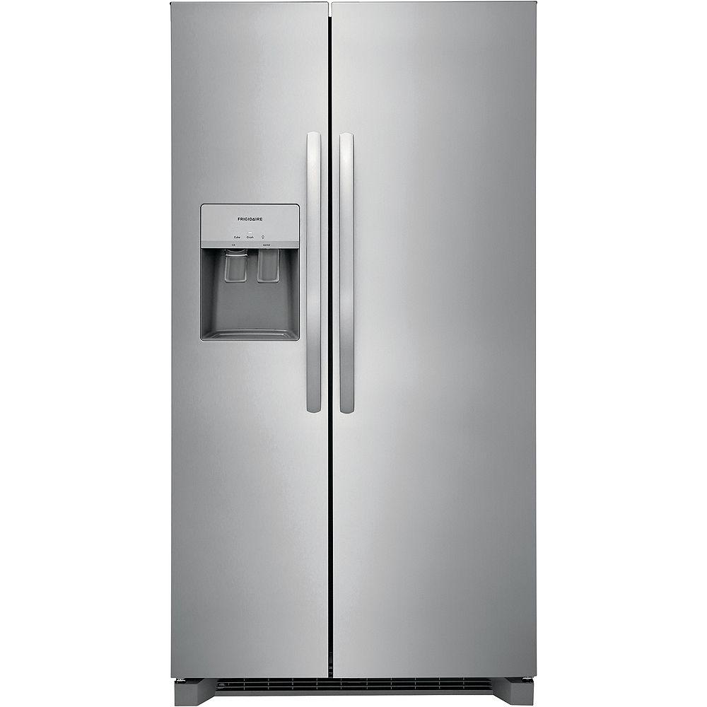 Frigidaire Réfrigérateur côte à côte de 36 po de largeur de 25,6 pi3 en Acier inoxydable