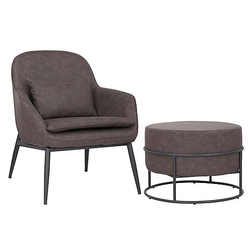 Set of comfortable arm chair with ottoman made of faux leather- Austin - Dark Brown