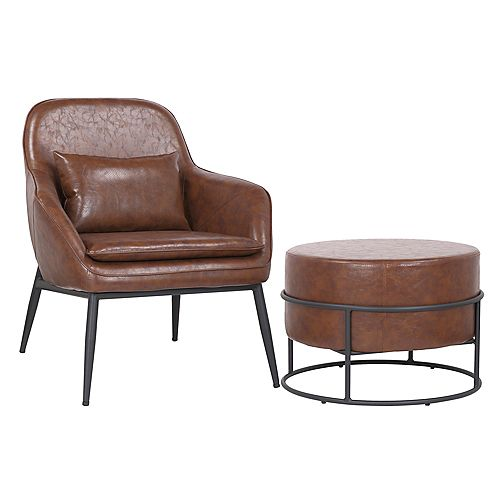 Set of comfortable arm chair with ottoman made of faux leather upholstery- Austin - Vintage Brown