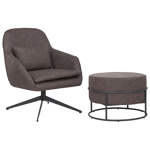 Set of comfortable arm chair with ottoman made of faux leather upholstery - James - Dark Brown