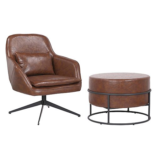 Set of comfortable arm chair with ottoman made of faux leather upholstery- James- Vintage Brown