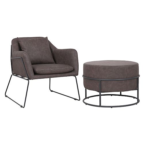 Set of comfortable arm chair with ottoman made of faux leather upholstery- Mason- Dark Brown
