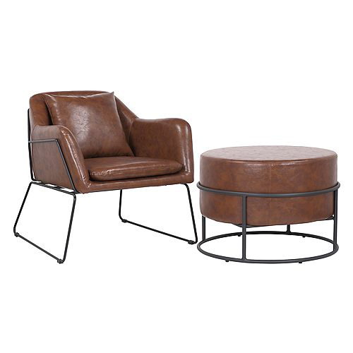 Set of comfortable arm chair with ottoman made of faux leather upholstery- Mason- Vintage Brown