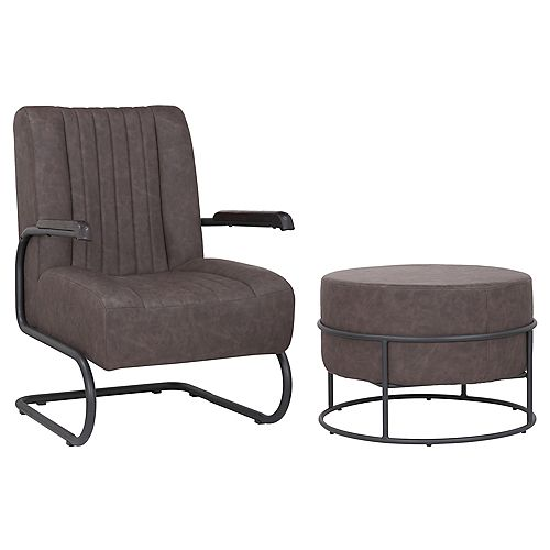 Set of comfortable arm chair with ottoman made of faux leather upholstery- Lucas- Dark Brown