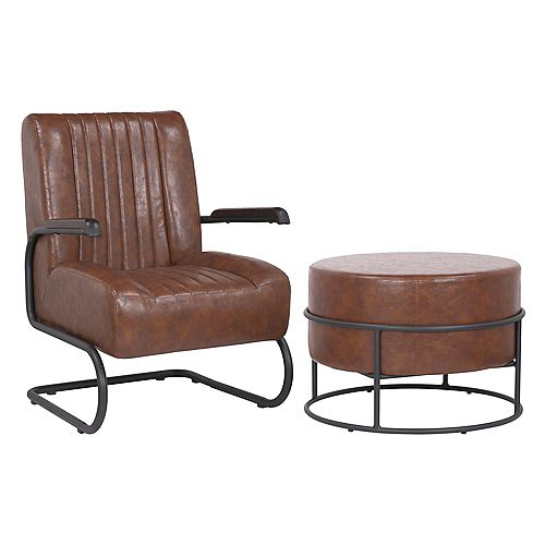 Set of comfortable arm chair with ottoman made of faux leather upholstery-Lucas - Vintage Brown