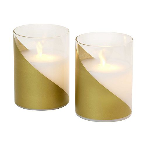 LumaBase Battery Operated LED Glass Candles with Moving Flame - Gold Accent (set of 2)