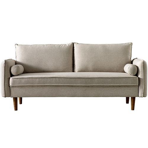 Beige Linen Fabric High Back Upholstered Sofa