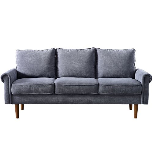 3-seat Gray High Back Futon Tufted Fabric Upholstered Sofa