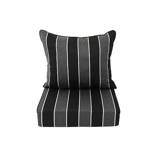 Sunbrella Deep Seating Cushion black stripe