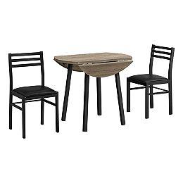 ENSEMBLE SALLE À MANGER - 3 PIÈCES / TABLE À ABATTANT / 2 CHAISES - FAUX BOIS TAUPE FONCÉ / NOIR