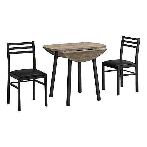 Dining Set - 3 Pieces / Round Drop-Leaf Dining Table / 2 Chairs - Dark Taupe Wood-Look / Black Metal