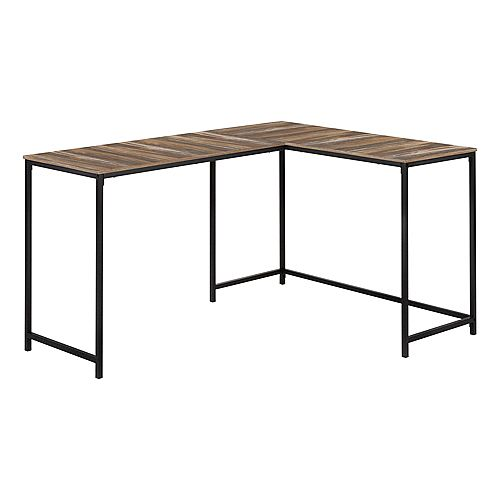 "Computer Desk - L-Shaped / Corner / Metal Base - 58""L X 44""W - Brown Reclaimed Wood-Look / Black"