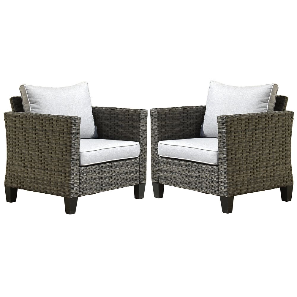 OVIOS Gray 2-Piece Wicker Outdoor Lounge Chair with Gray Cushions