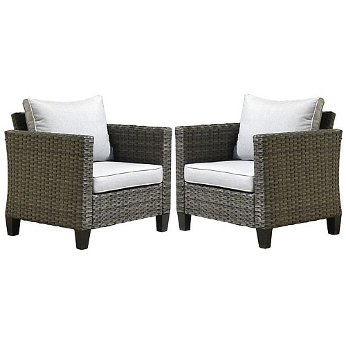 Gray 2-Piece Wicker Outdoor Lounge Chair with Gray Cushions