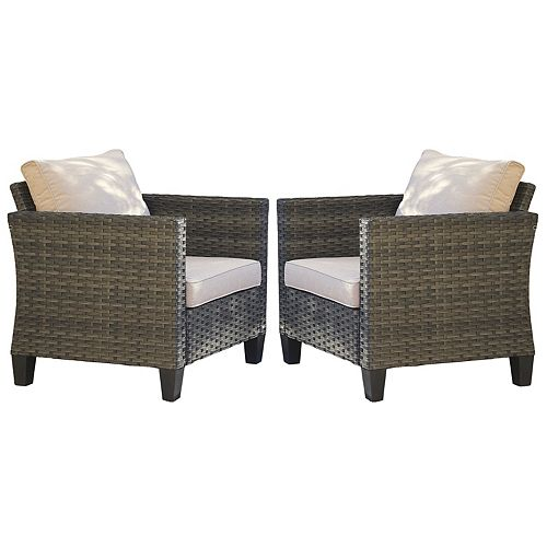 Gray 2-Piece Wicker Outdoor Lounge Chair with Beige Cushions