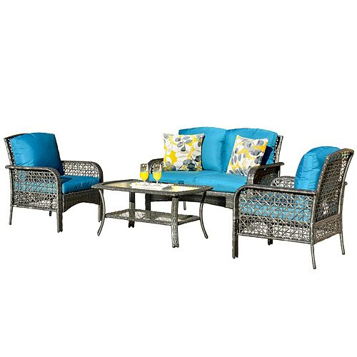 Gray 4-Piece Wicker Patio Sectional Conversation Sets with Blue Cushions and Coffee Table