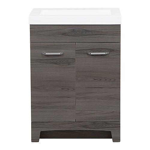 Stancliff 24.50 in. W Vanity in Lenox with Cultured Marble Vanity Top in White