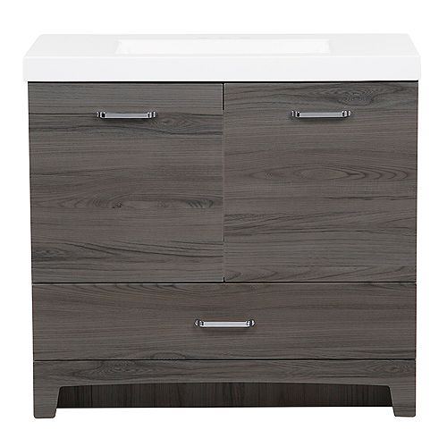 Stancliff 36.50 in. W Vanity in Lenox with Cultured Marble Vanity Top in White